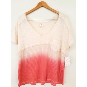 Free People NWT top oversize Coral Sun Dial Tee